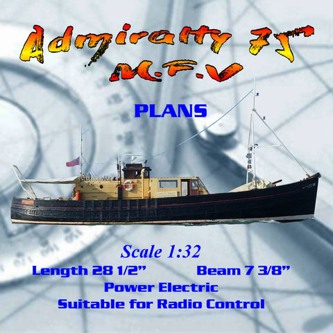 Full Size Printed Plan Scale 1/32 Admiralty 75' M.F.V fishing boat suitable for radio control