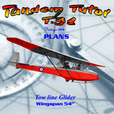 Full Size Printed Plan Vintage 1958 Slingsby Tandem Tutor (T.31) Tow line Glider Wingspan 54""