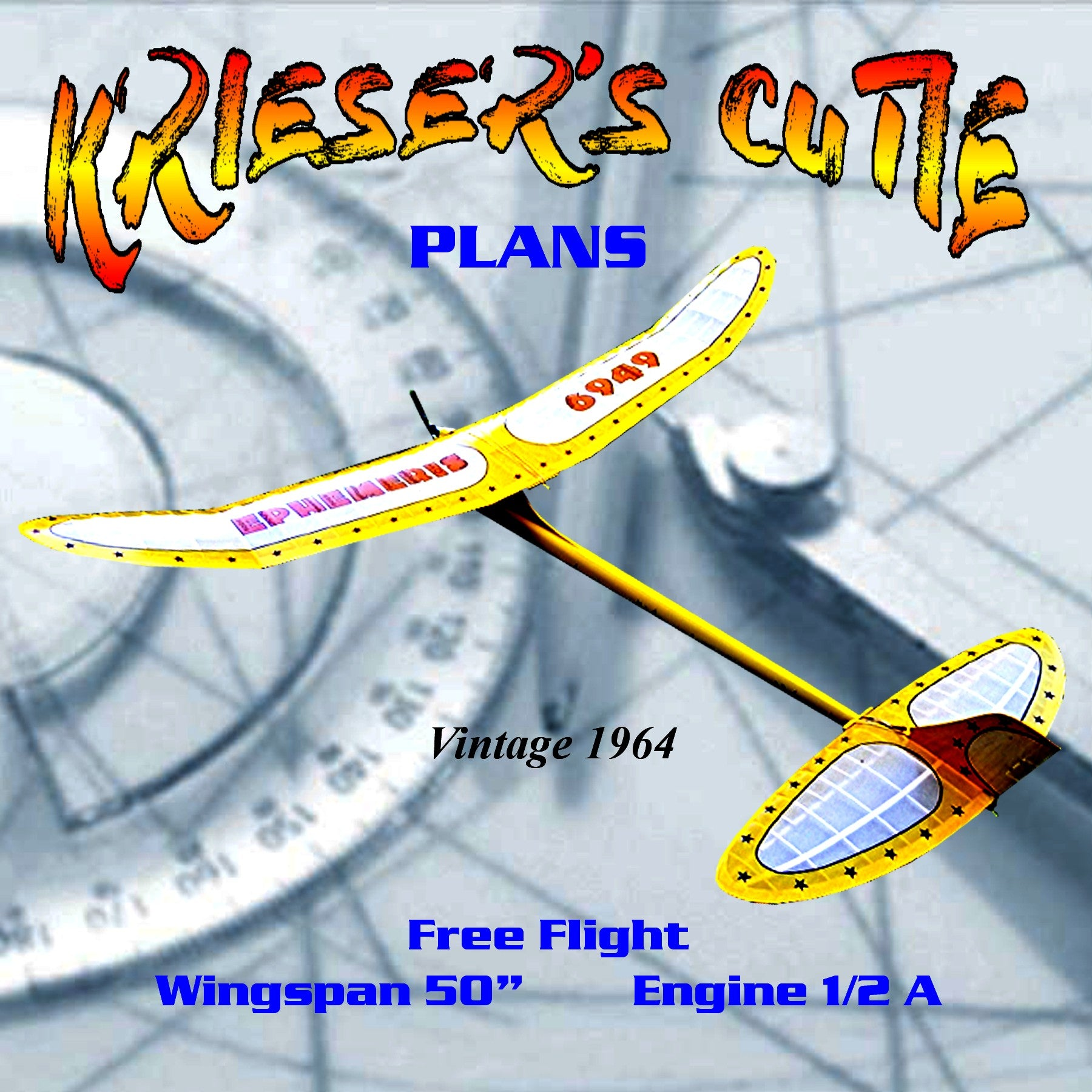 full size printed plan vintage 1964 ½ A Free flight KRIESER'S CUTIE Excellent glide