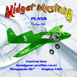 Full Size Printed Plan 1/2A Goodyear profile racer Midget Mustang