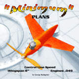 "Full Size Printed Plan   Control line speed  Half A ""Minimum"" Wingspan 8""  Engine .049"
