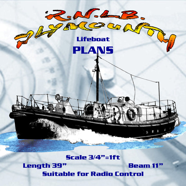 "Full size Printed Plans Scale 1:16, R.N.L.B.  Lifeboat L 39""  B11""  Suitable for radio control"