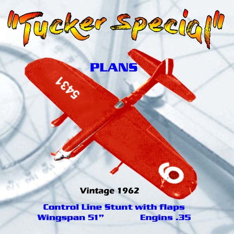 "Full Size Printed Plan vintage 1962 Control Line Stunt with flaps ""Tucker Special"" Best stunt design of the year"