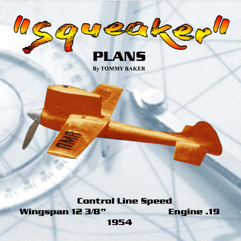 "Full Size Printed Plan  1954   CONTROL LINE SPEED'Squeaker"" this Cl. A won everything!"