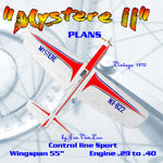 "Full Size printed Plans Vintage 1970 Control Line Stunt ""Mystere II"" contest aircraft in every sense"