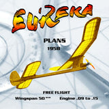 Full size printed plan Vintage 1958 Free flight .15 EUREKA Hottest of them all