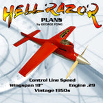 Full Size Printed Plan Control Line Class B  Speed  HELL RAZOR won Senior D speed Wingspan 18  Engine Dooling .29