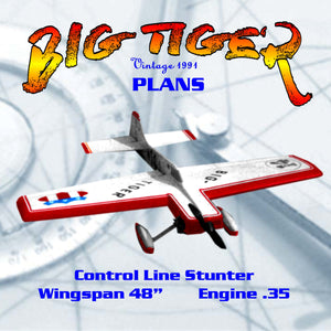 "Full size printed plan Control Line Stunter ""BIG TIGER"" Stunts beautiful OS 35 FP with muffler,"