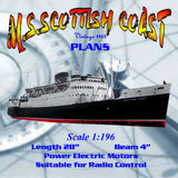 "SEA ferry semi scale 1:196 28"" M.V. Scottish coaster Full size printed plan & article for radio control"
