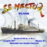 "Full Size Printed Plan Scale (1/16 in.-1 ft. Blue Funnel Line ""S.S. HECTOR"" Suitable for radio control"