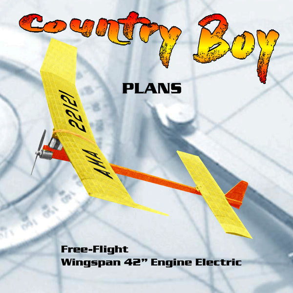 Printed Plan Vintage 1982 Electric Free-Flight Country Boy steady power, but ease of starting and handling