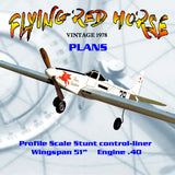 Full Size printed plans VINTAGE 1978 Profile Scale Stunt control‑liner Not a KIT or MODEL  FLYING RED HORSE  flys very well..