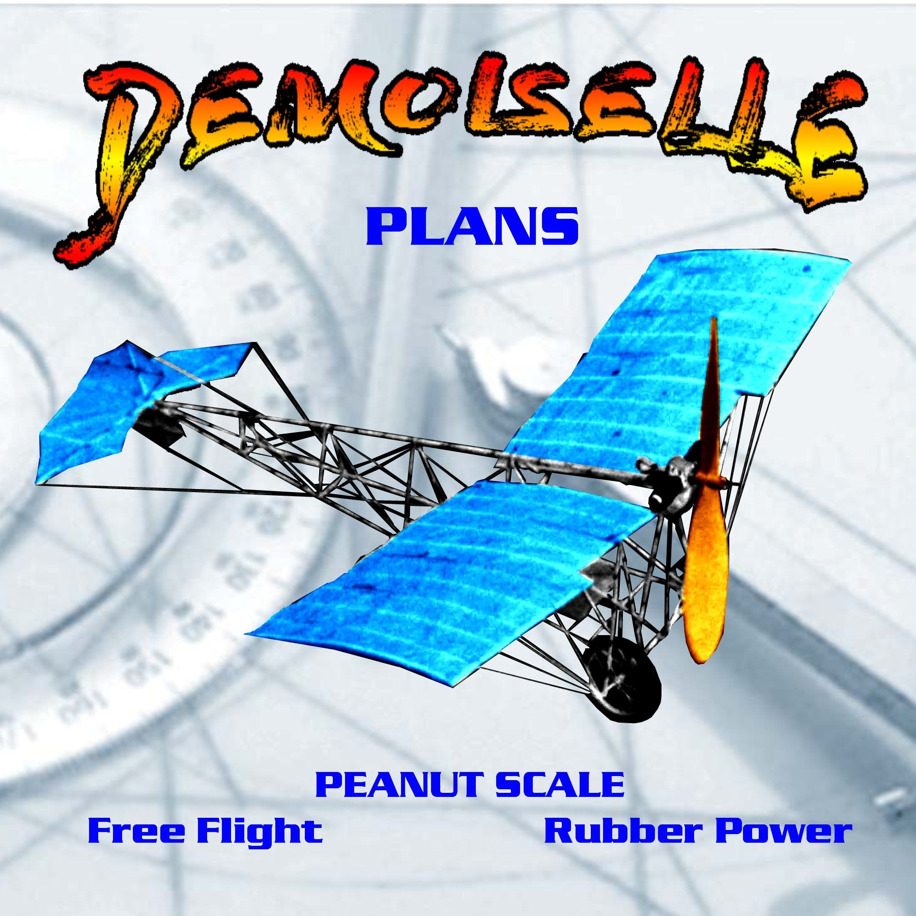 Full Size Printed SUB-PEANUT SCALE Plans DEMOISELLE  It fly's quite nicely and looks cute