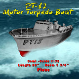"Full Size Printed Plan PT-12  Boat Semi Scale 1:35  L 26"" suitable for Radio Control"