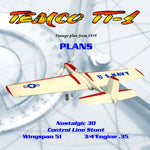Full Size Printed Plans VINTAGE 1959 Nostalgic 30 Stunt TEMCO TT-1 fun of building a model from scratch