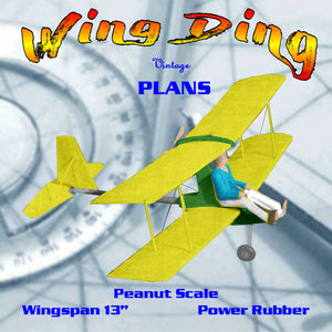 "Full size printed plans Peanut Scale ""WING DING""  C02 powered, scale ultralight"
