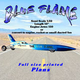 "Full Size Printed Plan   BLUE FLAME Semi Scale 1:32  Length 13""  Engine Jetex 150 orConvert to rocket or small ducted fan"