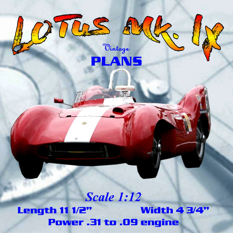 Full size printed plan 1/12 SCALE, LOTUS Mk. IX  FOR .03 - 09 CI or .5 - 1.5 CC  MOTORS, RAIL OR CABLE TRACK