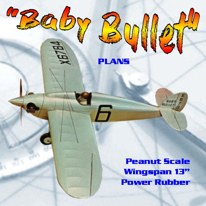 "Full Size Printed Plans  Peanut Scale Heath ""Baby Bullet"" Wingspan 13""  Power Rubber"