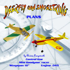 "Full Size Printed Plan Mini-Goodyear class racers 1/2A to .09 ""DEERFLY and SHOESTRING"""