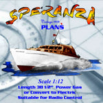 "Motor Yacht scale 1:12 38 1/2"" Speranza Full size printed plans for Radio control"