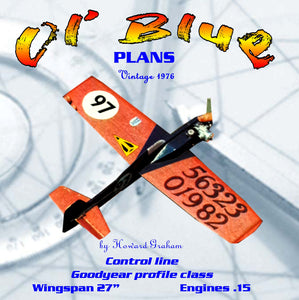 "Full Size Printed Plan Goodyear Profile Racer Scale 1:8 Control Line ""Ol' Blue"" Nationals winning"