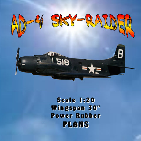 "Full size printed plan AD-4 Sky-Raider Scale 1:20  Wingspan 30""  Power Rubber"