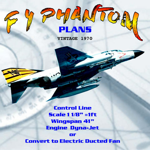 Full size printed F 4 PHANTOM plans vintage 1970  Radio or Control line Dyna-Jet or  Ducted Fan