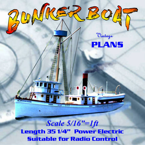 "Build a scale is 5/16""=1 ft., length is 35 ¼"" and beam is 63/4 "" R/C Fishing Boat Full Size printed plans"