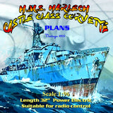 "Full Size Printed Plans Castle Class Corvette 32"" 1:96 Scale  for Radio Control"