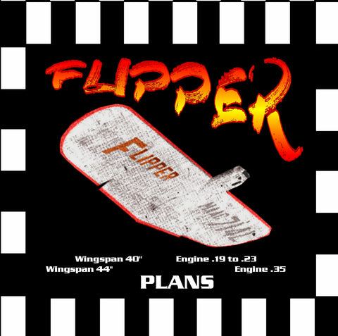 "Full Size Printed Plan & Building Notes  Two Sizes FAI Combat *FLIPPER* Wingspan 40"" -Engine .19 to .23  Wingspan 44"" -Engine .35"
