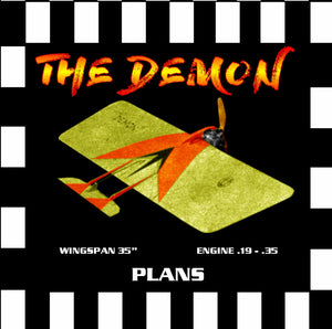 "Full Size Printed Plan & Building Notes combat, fast or slow, *The Demon* WINGSPAN 35""  ENGINE .19 - .3"