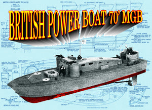 Full Size Printed Plans 1/32 semi-scale, 26 1/4 in long BRITISH POWER BOAT 70' MGB