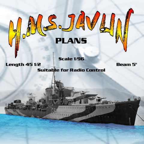 "Full Size printed Plans Scale 1/96 J Class Destroyer H.M.S. JAVLIN L 45 1/2"" Suitable for Radio Control"