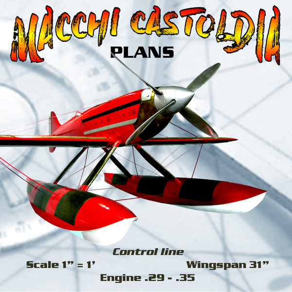 "Full Size Printed Plans Control line  Scale 1"" = 1' MACCHI-CASTOLDIA Wingspan 31""  Engine .29 - .35"