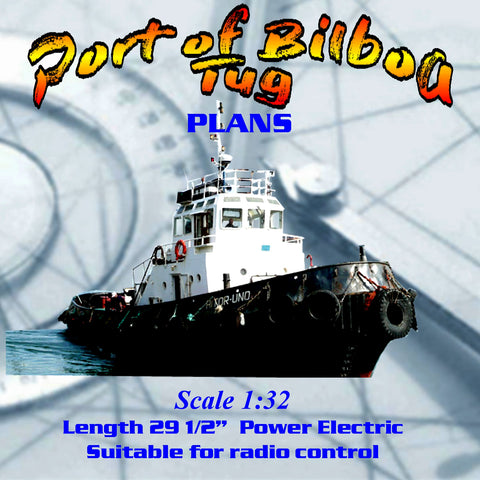 Full size Printed Plans line drawings Scale 1:32 Port of Bilboa Tug for experience builder's