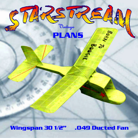 Full Size Printed Plan  beginners' ducted fan model Engine .049 STARSTREAM