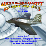 Full Size Printed scale 1:12 MESSERSCHMITT KOMET Me 163 Glider or convert to ducted fan