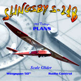 "Full Size Printed Plan Scale glider 50 in. W/S slope soarer ""SLINGSB Y S-21B"""