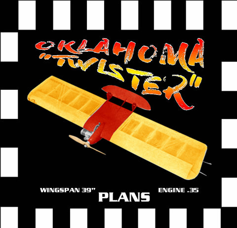 "Full Size Printed Plan & Building Notes Tough Combat Fighter OKLAHOMA  ""TWISTER""  WINGSPAN 39""  ENGINE .35"
