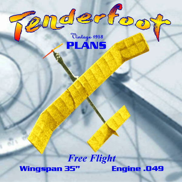 "Full Size Printed Plan vintage 1958 Free Flight  Wingspan 35""  Engine .049 ""Tenderfoot"" wonderful trainer. You can build it."