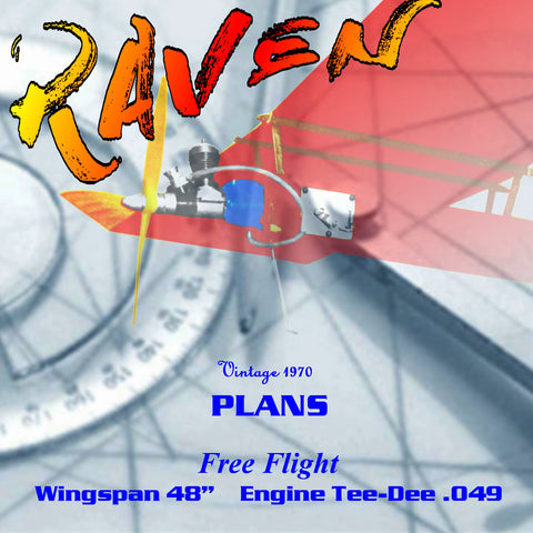 "Full Size Printed Plan 1970 Free Flight  48"" in span,  Cox .049 to .051. THE RAVEN"