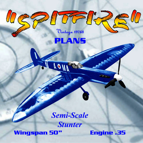 "Full Size Printed Plan 1968 Semi Scale Spitfire Control Line Stunt  Wingspan 50""  Engine .35"