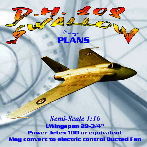 Full Size Printed Plan Semi-Scale 1:16 D.H. 108 SWALLOW Jetex 100 or electric control Ducted Fan