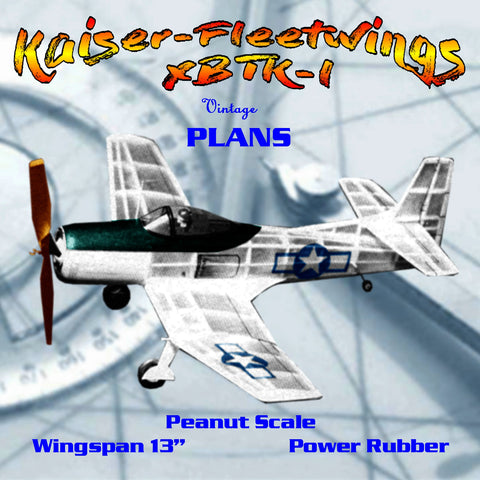 Full size printed plans Peanut Scale Kaiser-Fleetwings XBTK-l IT IS NOTHING BUT A WINNER
