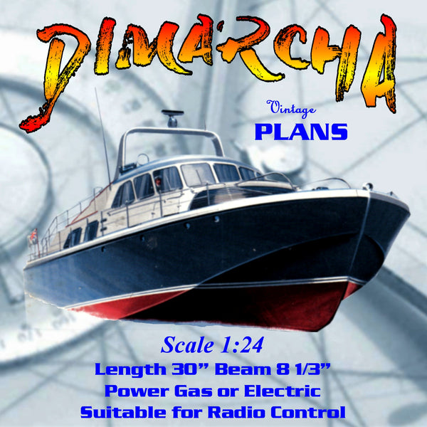 Full Size Printed Plan Scale 1:24  L 30 Vosper deep sea motor yacht DIMARCHA