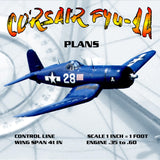 "Full Size Printed Plans CONTROL LINE, SCALE 1:12, WING SPAN 41"", CORSAIR F4U-1A"