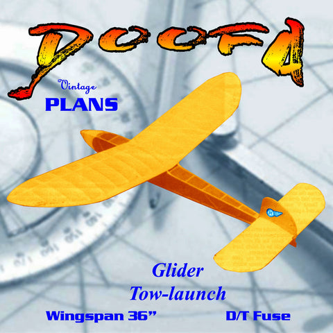 "Full Size Printed Plan lightweight 36"" tow-launch glider ""DOOFA"""