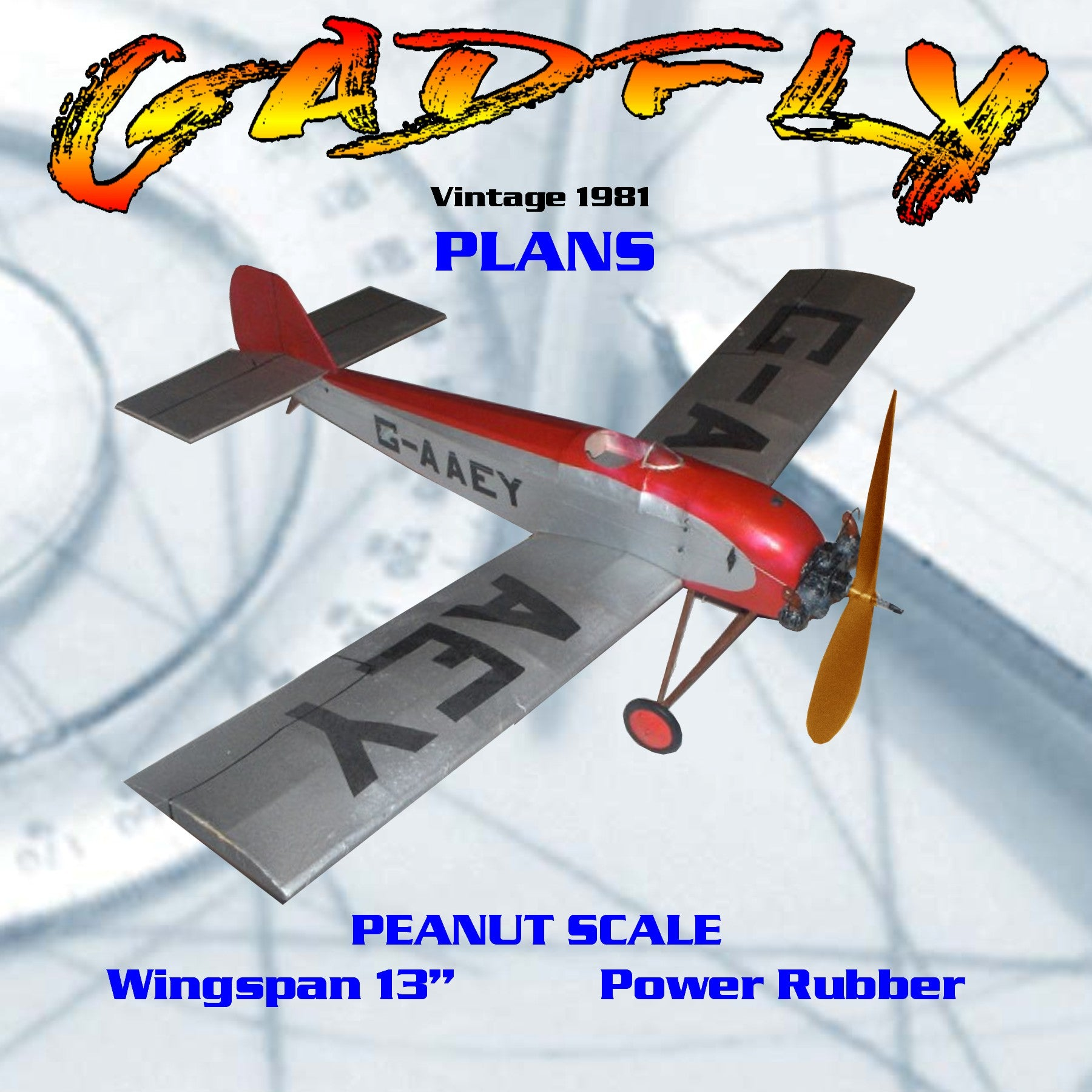 "Full size printed plans vintage 1981 Peanut Scale ""GADFLY""  best in the Golden Age"