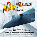 "Full size printed plan Semi-Scale 1:100 NAUTILUS SNN 571  38"" Auto submerge & surface"